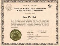 加州中醫針灸執照