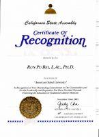 加州眾議員給貝教授的表彰狀