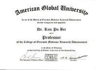 貝教授被聘為美國大學博士研究生導師的聘書